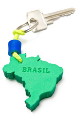 House key with tag in form of Brazil border