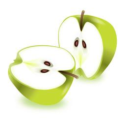 Apple halves.