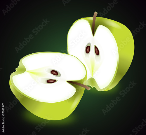 Apple halves.