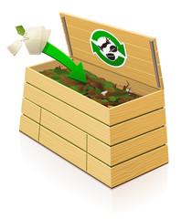Composteur en bois : ajout de sachet de thé et filtre à café