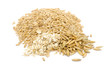 Peeled Oats, Oat Flakes and Unpeeled Oats Isolated on White
