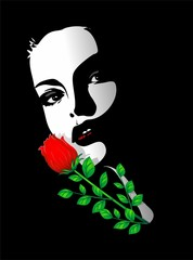 Viso Bella Ragazza Rosa-Beautiful Girl's Rose Portrait-Vector