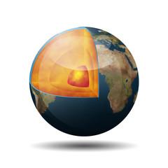 Icono 3D interior del planeta tierra