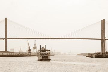 Riverboat coming under Talmadge Memorial Bridge in Savannah