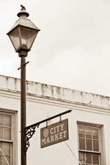 City Market sign on lamppost in Historic District of Savannah