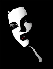 Viso Ritratto Bella Ragazza-Beautiful Girl's Portrait-Vector