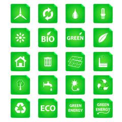 green energy vector icon set