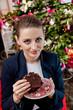 beautiful girl eating cake