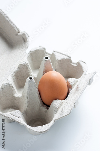 Egg box with one egg in