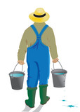 •	man with a leaky bucket