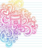 Music Note Sketchy Doodles Vector Illustration poster
