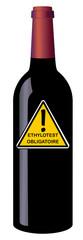 Bouteille de vin avec étiquette ethylotest obligatoire