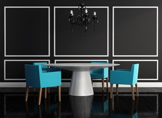 Luxury chic black white interior dining room with chandelier
