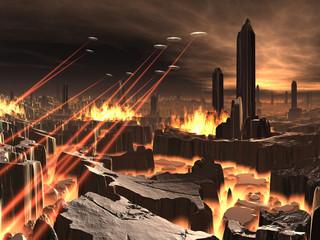 Alien UFO Invasion of Futuristic City