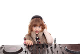 little girl dj with turntables