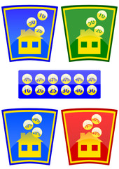 Colored icons with the theme of the house and money