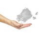Nuvola grigia sopra la mano, fondo bianco