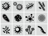 Vector black virus icons set.