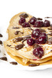 pancakes with cherry jam and chocolate icing