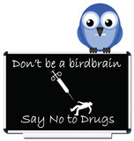 Do not be a birdbrain say no to drugs message poster