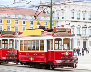 red tram of Lisbon, Portugal
