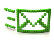 Mail icon made of green cubes