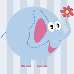 cartoon elephant with a flower