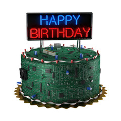 Birthday Cake for Geeks isolated over white background