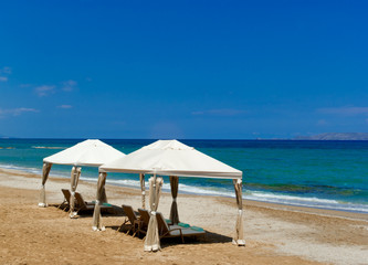 Beach gazebo in luxury mediterranean resort.Greece