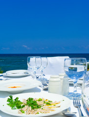Gourme lunch on mediterranean shore