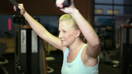 Happy woman doing circuit training