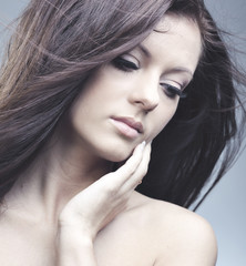 beautiful woman with perfect skin and long hair