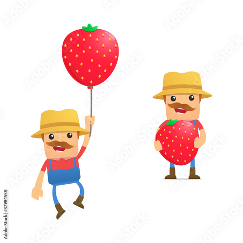 set of funny cartoon farmer