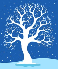 White tree on blue background 1