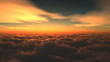 Flight over clouds in the evening sky