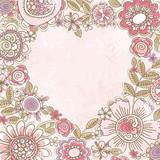 Fototapety valentine heart of pink flowers