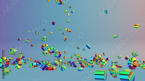 Colorful Geometric Objects Falling