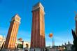 View of the Venetian Tower on Espanya square, Barcelona. Spain.