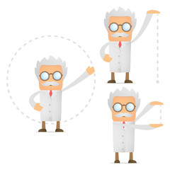 set of funny cartoon scientist