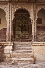 Old door in palace in Meherangarh Fort in Jodhpur