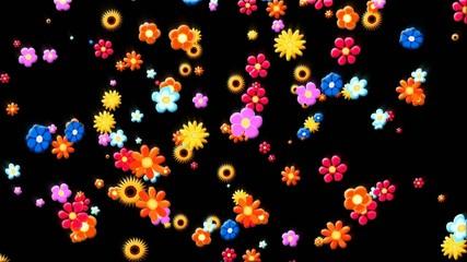 Viele verschiedene bunte Blumen fallen ( comic style )