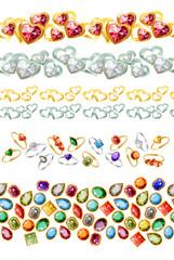 Seamless borders with heart-shape gems