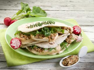 vegetarian sandwich, chapati with tofu arugula  mustard