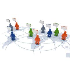 Menschen-Symbole mit Sprechblasen - internationale Kommunikation