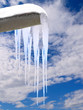 icicles from a roof gutter