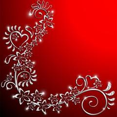 Sfondo Amore Ornamentale Floreale-Valentine's Love Card