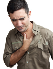 Hispanic man with a chest pain isolated onwhite