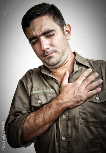 Man with chest pain or having a heart attack
