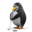 3d Penguin plays a round of golf