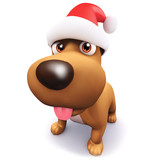 3d Cute puppy in a Santa Claaus hat